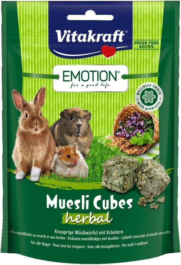 Лакомство для грызунов Vitakraft Muesli Cubes, с травами, 80 г корм для птиц vitakraft menu vital для волнистых попугаев основной 1кг