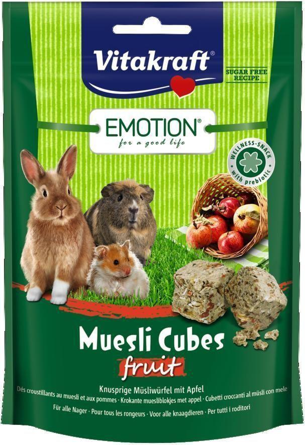 Лакомство для грызунов Vitakraft Muesli Cubes, с фруктами, 80 г корм для птиц vitakraft menu vital для волнистых попугаев основной 1кг