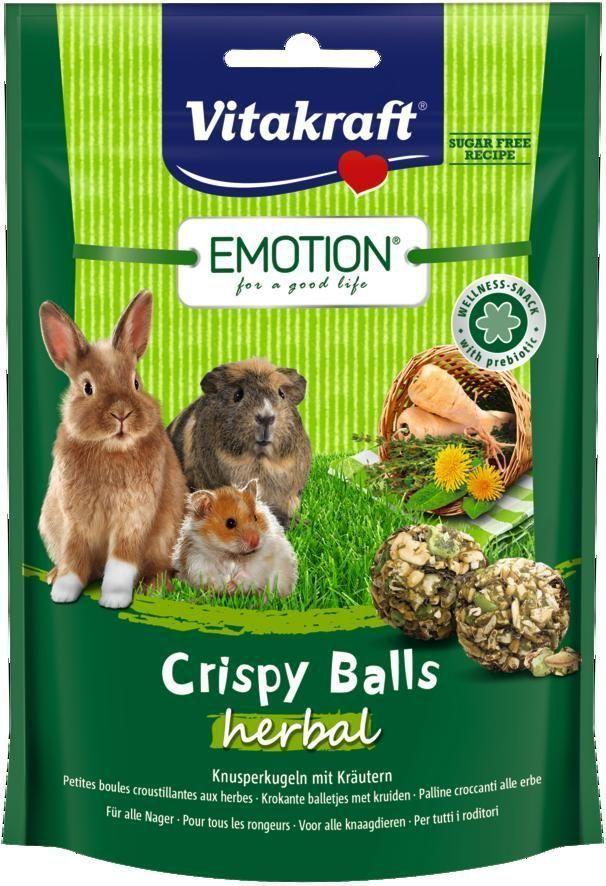 Лакомство для грызунов Vitakraft Crispy, шарики травяные, 80 г камень для грызунов vitakraft sel plus соляной