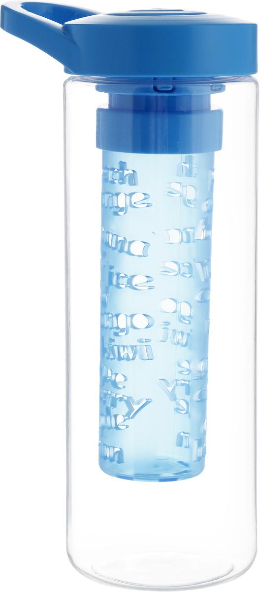 """Бутылка для напитков """"Herevin"""" выполнена из качественного пластика и имеет прозрачные стенки. Специальная съемная секция с отверстиями предназначена для ягод и фруктов, что позволяет сделать свежий ароматный напиток. Пластиковая крышка с ручкой плотно закручивается, благодаря этому внутри сохраняется герметичность, и содержимое дольше остается свежим. Широкое горлышко позволяет без труда наполнять емкость.  Бутылку с ароматным освежающим напитком удобно взять с собой на работу, учебу, прогулку, на занятия фитнесом и в поездки.  Диаметр основания: 7 см. Высота емкости: 21 см."""