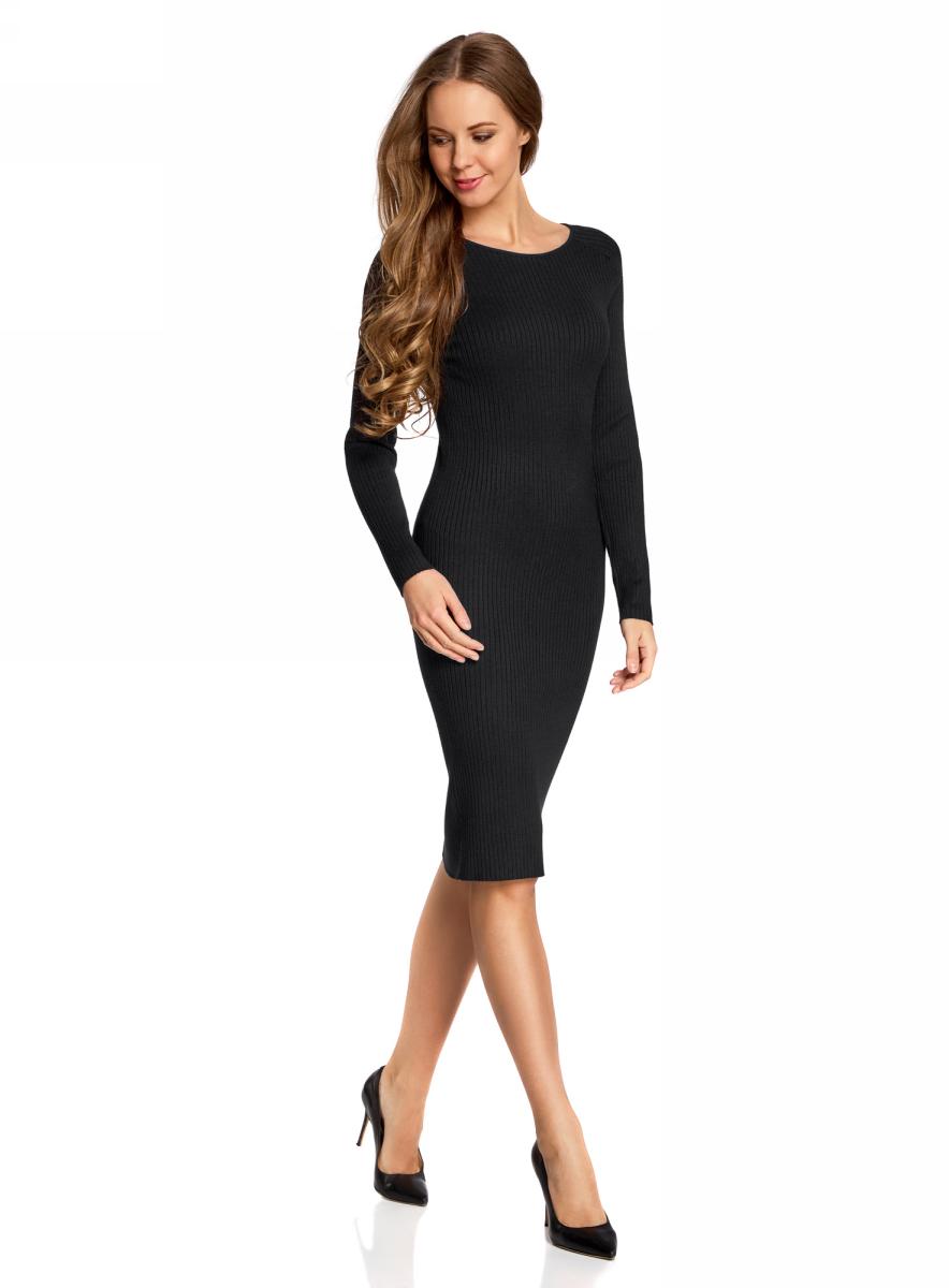 Платье oodji Collection, цвет: черный. 73912207-2B/24525/2900N. Размер L (48)73912207-2B/24525/2900NВязаное платье в рубчик от oodji выполнено из вискозной пряжи с добавлением полиамида. Модель длины миди с длинными рукавами и круглым вырезом горловины.