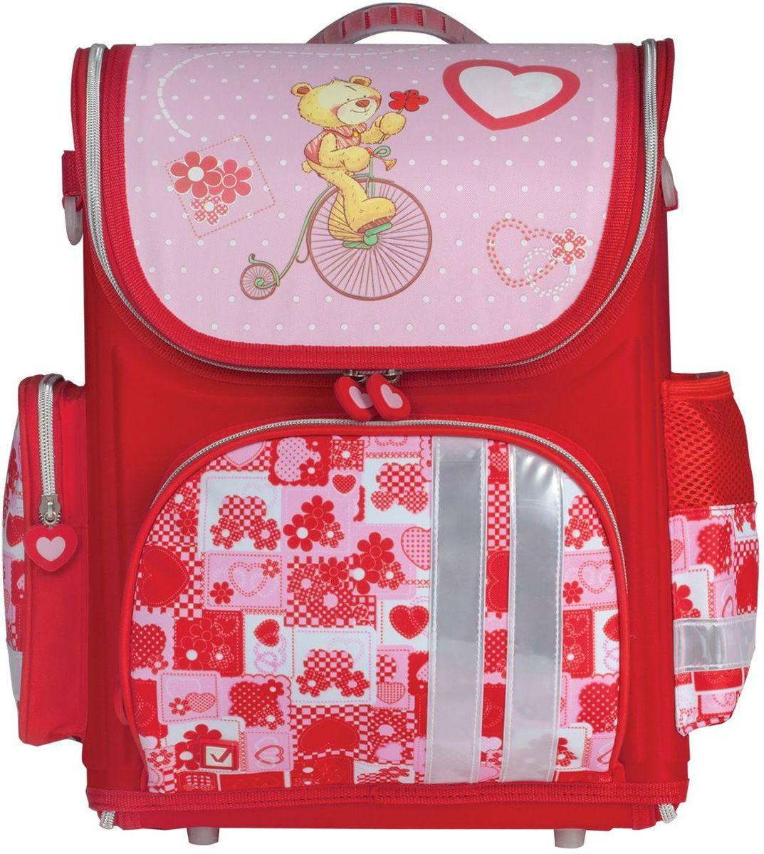 Brauberg Ранец школьный Мишка225437Ранец Мишка предназначен для девочек 7-10 лет. Он выполнен в красно-розовом цвете и дополнен необычным принтом на карманах. Благодаря такой яркой расцветке, с ранцами этой серии ребенок всегда будет выглядеть нарядно и опрятно.•1 отделение, 3 кармана. •Полностью раскладывается на 180°. •Формоустойчивая спинка из EVA. •Светоотражающие элементы. •Широкие регулируемые лямки. •Пластиковые ножки. •Расписание уроков. •Размер: 37х29х17 см. •Объем: 20 л. •Вес ранца - 0,87 кг.