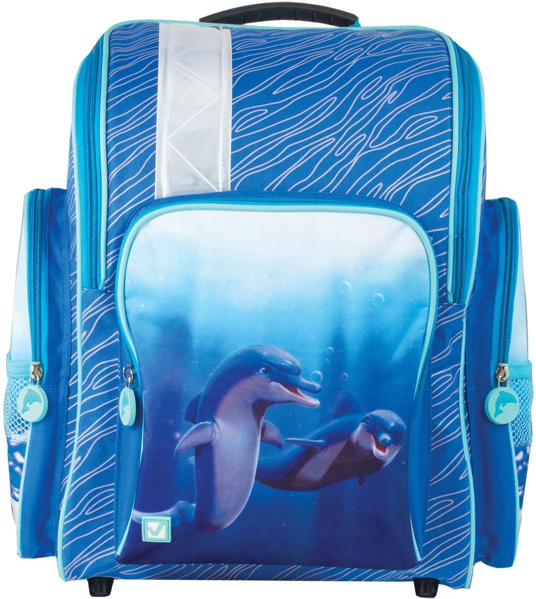 Brauberg Ранец школьный Дельфин226264Школьный ранец Brauberg Дельфин предназначен для девочек 7-10 лет. Оригинальная модель с морской тематикой станет универсальным спутником школьницы, а надежная конструкция ранца позволит не беспокоиться о сохранности содержимого.Содержит ранец одно вместительное отделение, закрывающееся на застежку-молнию с двумя бегунками, а также два боковых накладных кармана, закрывающиеся на молнии. Лицевая сторона оснащена накладным карманом на молнии.Формоустойчивая спинка из EVA. Мягкие анатомические лямки позволяют легко и быстро отрегулировать ранец в соответствии с ростом. Дно с пластиковыми ножками обеспечивает ранцу хорошую устойчивость. Светоотражающие элементы не оставят незамеченным вашего ребенка в темное время суток.