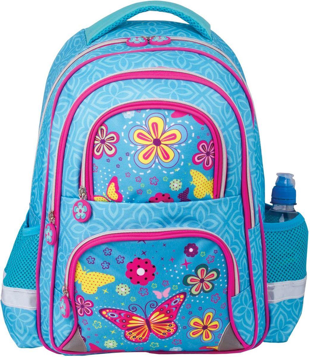 Brauberg Рюкзак Махаон226388Рюкзак Brauberg предназначен для девочек 7-10 лет. Модель выполнена в приятном бирюзовом цвете, дополнена оригинальным весенне-летним принтом. Благодаря яркой расцветке и надежной конструкции, с этим рюкзаком ваш ребенок всегда будет выглядеть нарядно и опрятно.Рюкзак имеет два основных отделения, которые закрываются на застежки-молнии, два кармана на молниях на лицевой стороне и два открытых боковых кармана. Рюкзак имеет формоустойчивую спинку, широкие регулируемые лямки, светоотражающие элементы и текстильную ручку для переноски в руке.