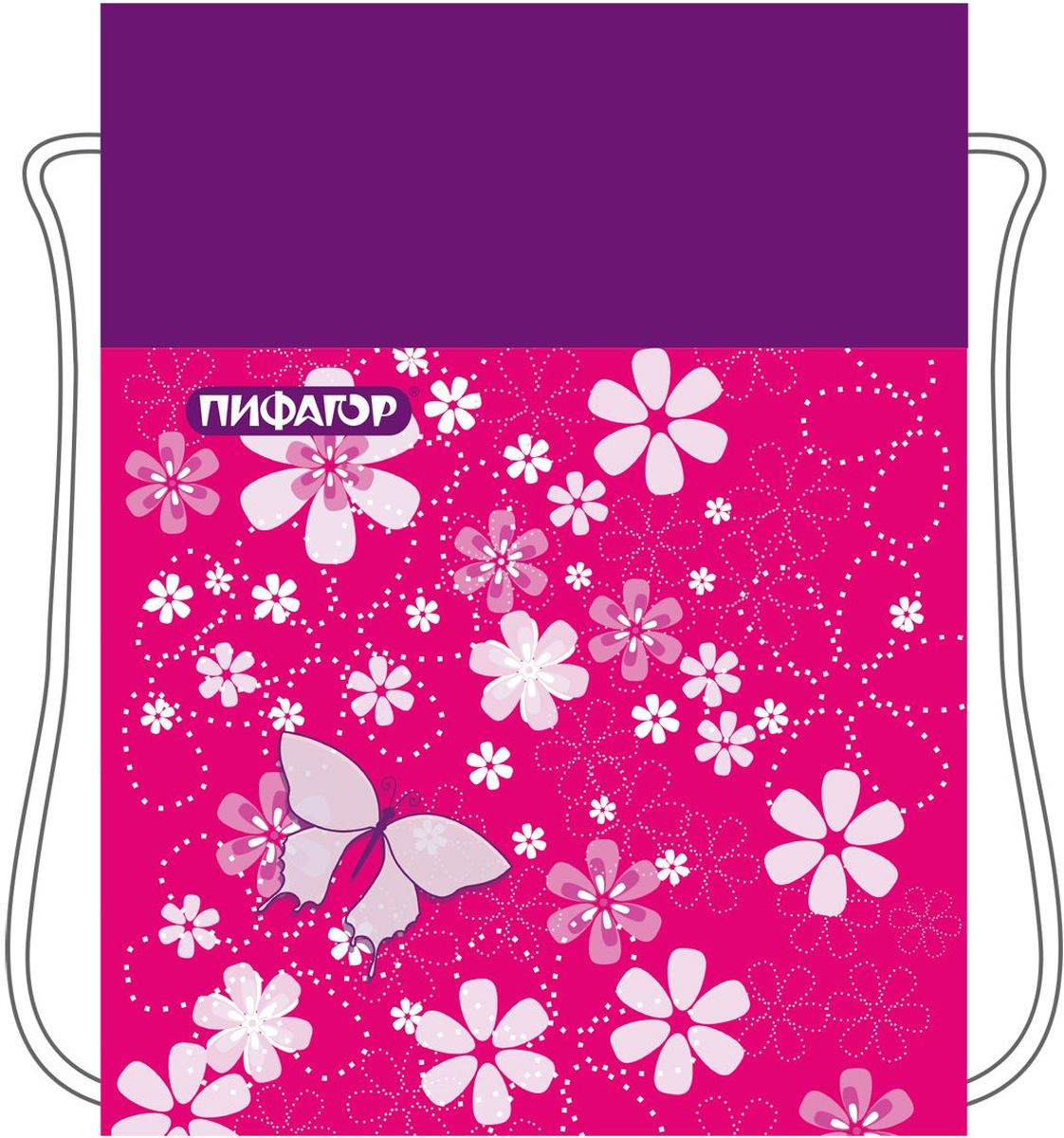 Пифагор Сумка для детской обуви Бабочки цвет розовый226525Сумка для обуви Пифагор предназначена для детей 7-10 лет. Вместительная сумка затягивается шнурком. Яркий тематический принт поможет школьнику проявить индивидуальность.Водоотталкивающая пропитка ткани.