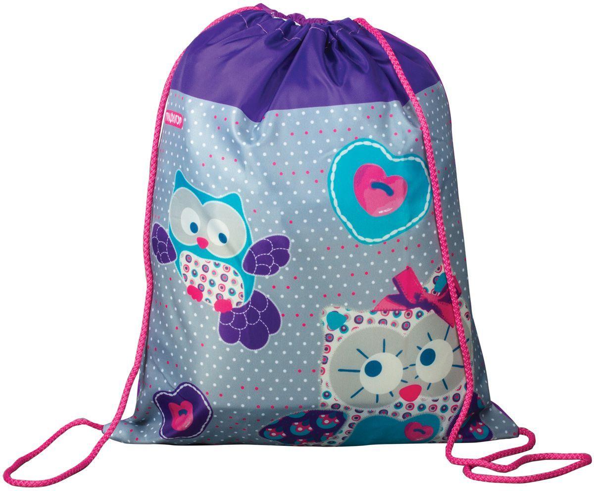 Пифагор Сумка для детской обуви Сова цвет фиолетовый226631Сумка для обуви Пифагор предназначена для детей 7-10 лет. Вместительная сумка затягивается шнурком. Яркий тематический принт поможет школьнику проявить индивидуальность.Водоотталкивающая пропитка ткани.