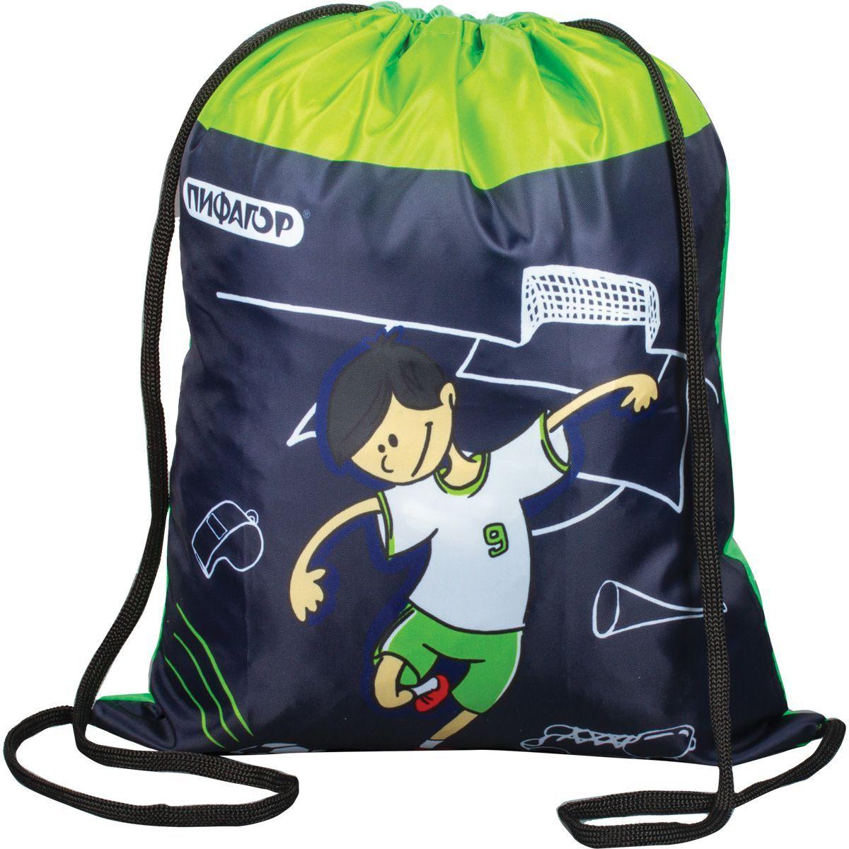 Пифагор Сумка для детской обуви Футболист цвет зеленый