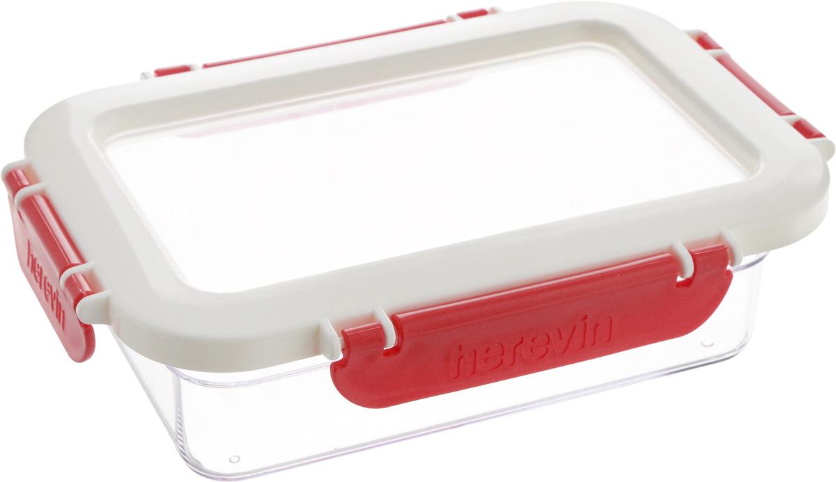 Контейнер для продуктов Herevin, 600 мл. 161426-001161426-001Контейнер для продуктов Herevin изготовлен из качественного пищевого пластика без содержания BPA. Крышка с 4 защелками плотно и герметично закрывается, поэтому продукты дольше остаются свежими. Прозрачные стенки позволяют видеть содержимое. Защелки дополнены рельефом с надписью Herevin. Такой контейнер подойдет для использования дома, его можно взять с собой на работу, учебу, в поездку. Можно использовать в микроволновой печи без крышки. Нельзя мыть в посудомоечной машине.