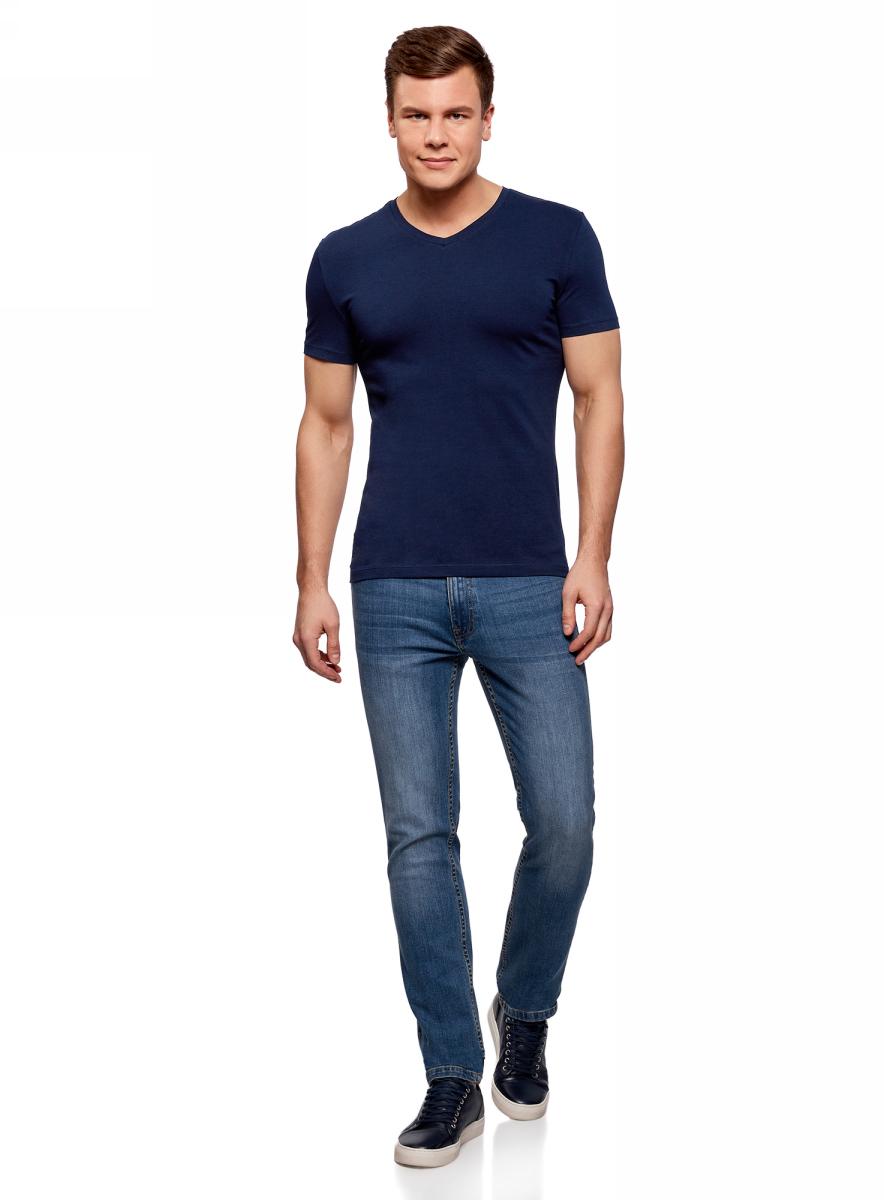 Футболка мужская oodji Basic, цвет: темно-синий. 5B612002M/46737N/7900N. Размер XL (56)5B612002M/46737N/7900NБазовая футболка с V-образным вырезом горловины и короткими рукавами выполнена из эластичного хлопка.