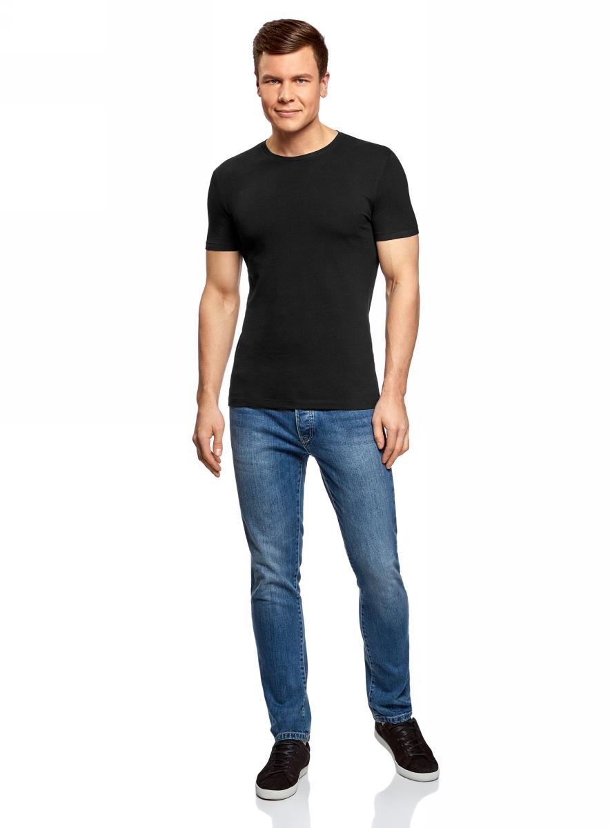 Футболка мужская oodji Basic, цвет: черный. 5B611004M/46737N/2900N. Размер S (46/48)5B611004M/46737N/2900NМужская базовая футболка от oodji выполнена из эластичного хлопкового трикотажа. Модель с короткими рукавами и круглым вырезом горловины.