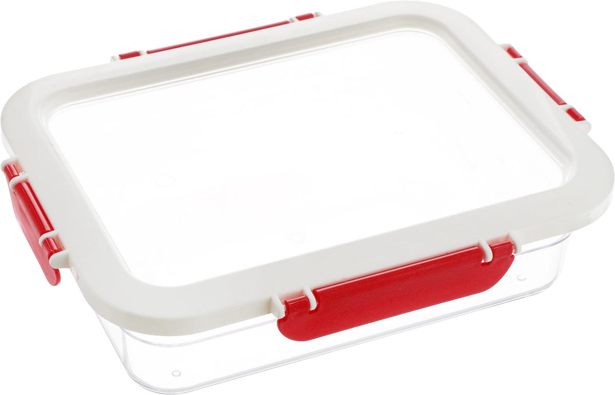 Контейнер для продуктов Herevin, цвет: прозрачный, белый, красный, 1,3 л161421-001Контейнер для продуктов Herevin изготовлен из качественного пищевого пластика без содержания BPA. Крышка с 4 защелками плотно и герметично закрывается, поэтому продукты дольше остаются свежими. Прозрачные стенки позволяют видеть содержимое. Такой контейнер подойдет для использования дома, его можно взять с собой на работу, учебу, в поездку. Можно использовать в микроволновой печи без крышки. Нельзя мыть в посудомоечной машине.