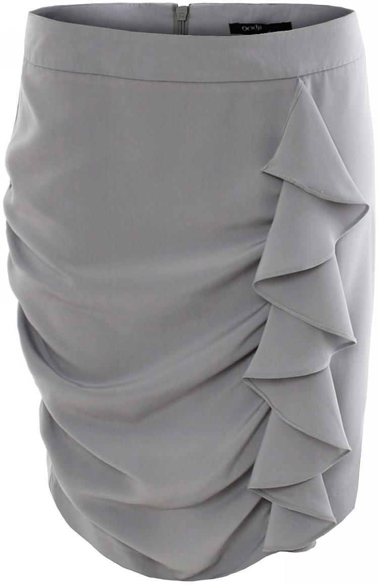 Юбка oodji Ultra, цвет: серый. 11601163-1/18288/2300N. Размер 36-164 (42-164)11601163-1/18288/2300NЮбка oodji выполнена из качественного полиэстера. Юбка застегивается сзади на молнию. Модель оформлена декоративными поперечными складками и крупным вертикальным воланом.