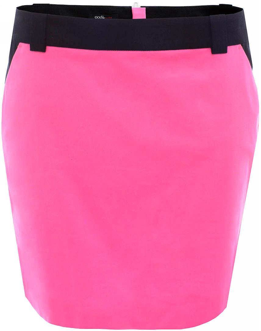 Юбка oodji Ultra, цвет: ярко-розовый, черный. 11602155-2/19887/4D29B. Размер 42-170 (48-170)11602155-2/19887/4D29BУльтрамодная мини-юбка выполнена из высококачественного материала контрастного цвета. По бокам юбка дополнена карманами. Сзади модель застегивается на застежку-молнию. Имеются шлевки для ремня.