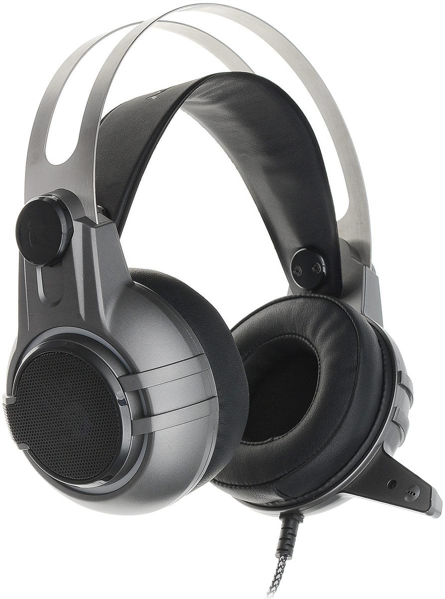 A4Tech Bloody M425, Black Gray игровые наушникиM425Гарнитура A4Tech Bloody M425 изготовлена из высококачественных материалов, которые обеспечивают наибольший комфорт пользователю даже после длительного использования. Металлический коннектор гарантирует долговечность устройства. А благодаря элегантному дизайну даже самые требовательные игроки будут в восторге.Двухкамерная технология акустической обработки обеспечивает глубокий резонирующий бас и кристально четкие высокие и средние частоты (в диапазоне от 20 Гц до 20 КГц). Это создает реалистичное ощущение объемного звука и позволяет вам в полной мере насладиться игровым процессом.Инновационной технология M.O.C.I. (Mycelium of Carbon IT) - революционная двухъядерная полнодиапазонная мембрана диаметром 40 мм наушников изготовлена из наномицелия и углеродных волокон. Это первая в своем роде аудиогарнитура, которая позволяет услышать оригинальный звук без его искажения.Эргономичный дизайн обеспечивает максимальный комфорт, идеально подходит для долгих игровых сессий.Бескислородные медные нити изготовлены из эко-материала TPE. Кабель оптимизирован под любое окружение и выдерживает натяжение с силой 20 кг.Полностью регулируемый передовой микрофон обеспечивает кристально чистую голосовую связь во время игры, предоставляя вам максимальный контроль в игровой среде.Гарнитура специально разработана таким образом, чтобы предотвратить головную боль при длительном ношении. Двухъядерная полнодиапазонная мембрана создана из тончайшего материала, что позволяет вашим ушам дышать.