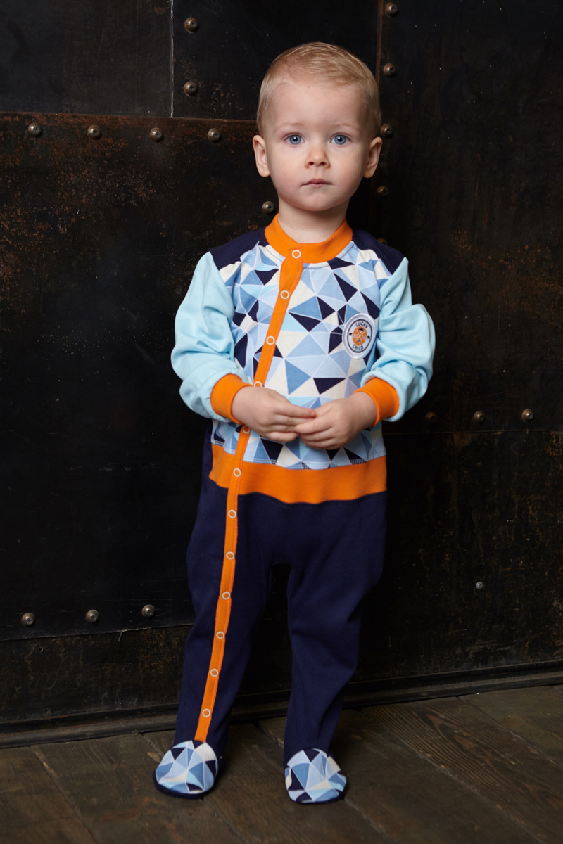 Комбинезон домашний для мальчика Lucky Child, цвет: голубой, синий. 32-16. Размер 80/86 пижама для девочки lucky child цвет кремовый желтый оранжевый 12 402 размер 80 86