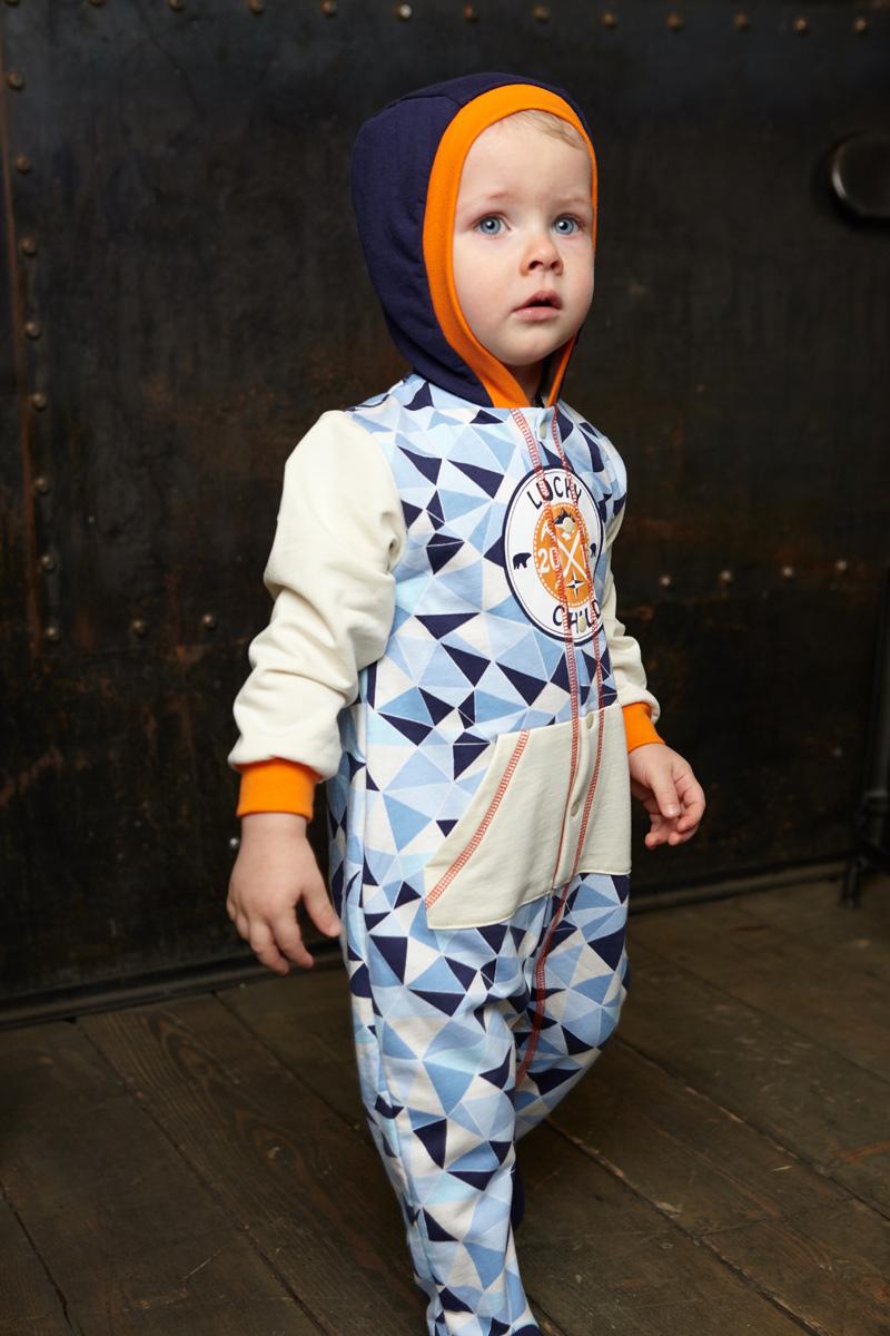 Комбинезон домашний для мальчика Lucky Child, цвет: голубой, синий. 32-3ф. Размер 80/86 пижама для девочки lucky child цвет кремовый желтый оранжевый 12 402 размер 80 86