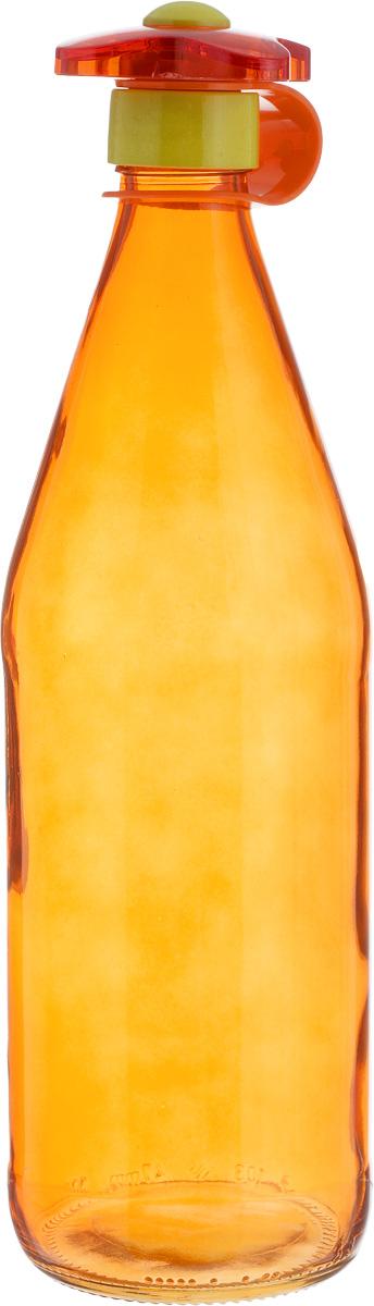 Бутылка для напитков Herevin, цвет: оранжевый, 1 л111630-000Бутылка для напитков Herevin выполнена из качественного прочного цветного стекла. Она легка в использовании, гигиенична, проста в уходе. Емкость оснащена оригинальной закручивающейся пробкой в форме цветка и снабжена силиконовым ремешком. Горлышко плотно закрывается, благодаря этому внутри сохраняется герметичность, и содержимое дольше остается свежим. Такая бутылка подойдет для хранения молока, сока, воды, коктейлей и других напитков, а также подсолнечного или оливкового масла. Диаметр горлышка: 3 см.Диаметр основания: 8,5 см.Высота емкости: 30 см.