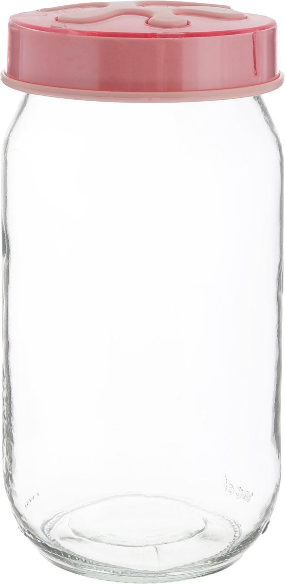 Банка для сыпучих продуктов Herevin, цвет: розовый, прозрачный, 1 л. 135377-500135377-500_розовыйБанка для сыпучих продуктов Herevin выполнена из высококачественного прочного стекла. Изделие снабжено плотно закручивающейся пластиковой крышкой с рисунком. Прозрачные стенки позволяют видеть содержимое. Такая банка отлично подойдет для хранения различных сыпучих продуктов: орехов, сухофруктов, чая, кофе, специй.Диаметр банки: 9 см.Высота банки: 18 см.