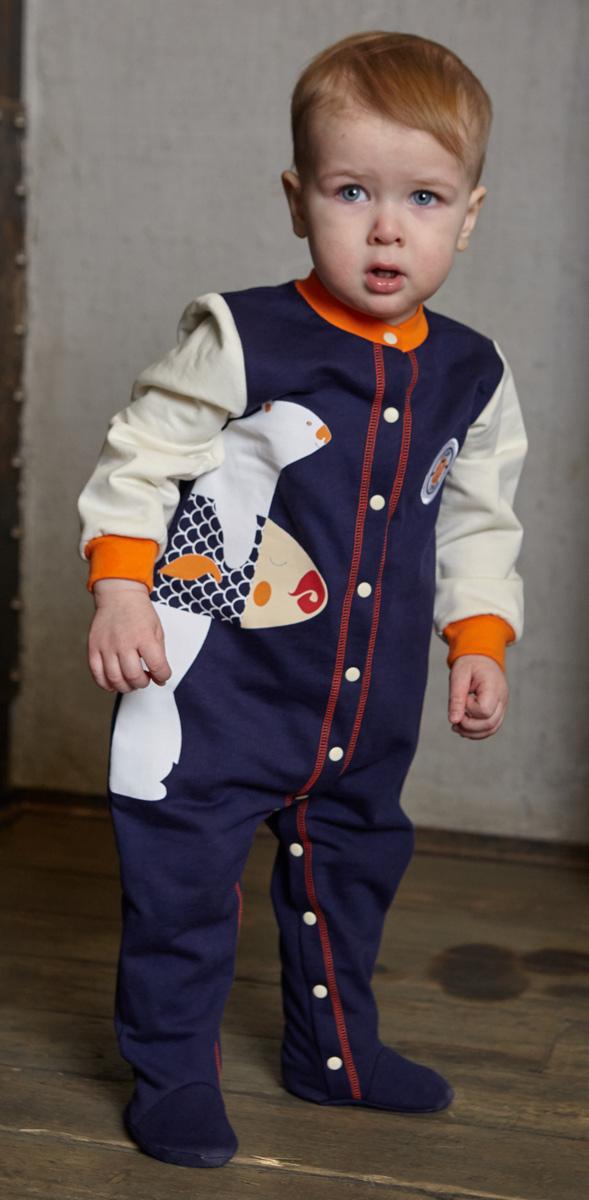 Комбинезон домашний для мальчика Lucky Child, цвет: молочный, синий. 32-1. Размер 80/86 пижама для девочки lucky child цвет кремовый желтый оранжевый 12 402 размер 80 86