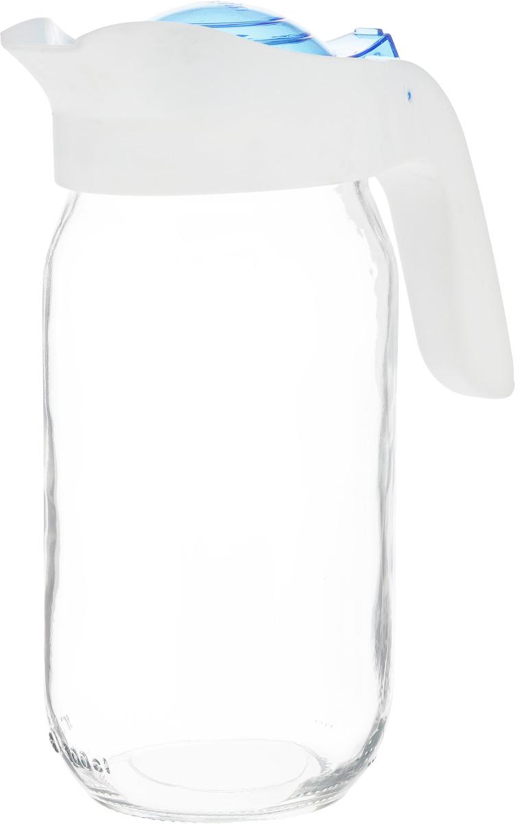 Кувшин Herevin, цвет: прозрачный, белый, синий, 1 л. 111271-009111271-009Кувшин Herevin, выполненный из высококачественного прочного стекла, элегантно украсит ваш стол. Кувшин оснащен удобной пластиковой ручкой и откидной крышкой. Форма носика обеспечивает наливание жидкости без расплескивания. Пластиковый верх легко откручивается, что позволяет без труда наполнить емкость. Изделие прекрасно подойдет для подачи воды, сока, компота и других напитков. Диаметр (по верхнему краю): 8,5 см.Высота кувшина: 20,5 см.
