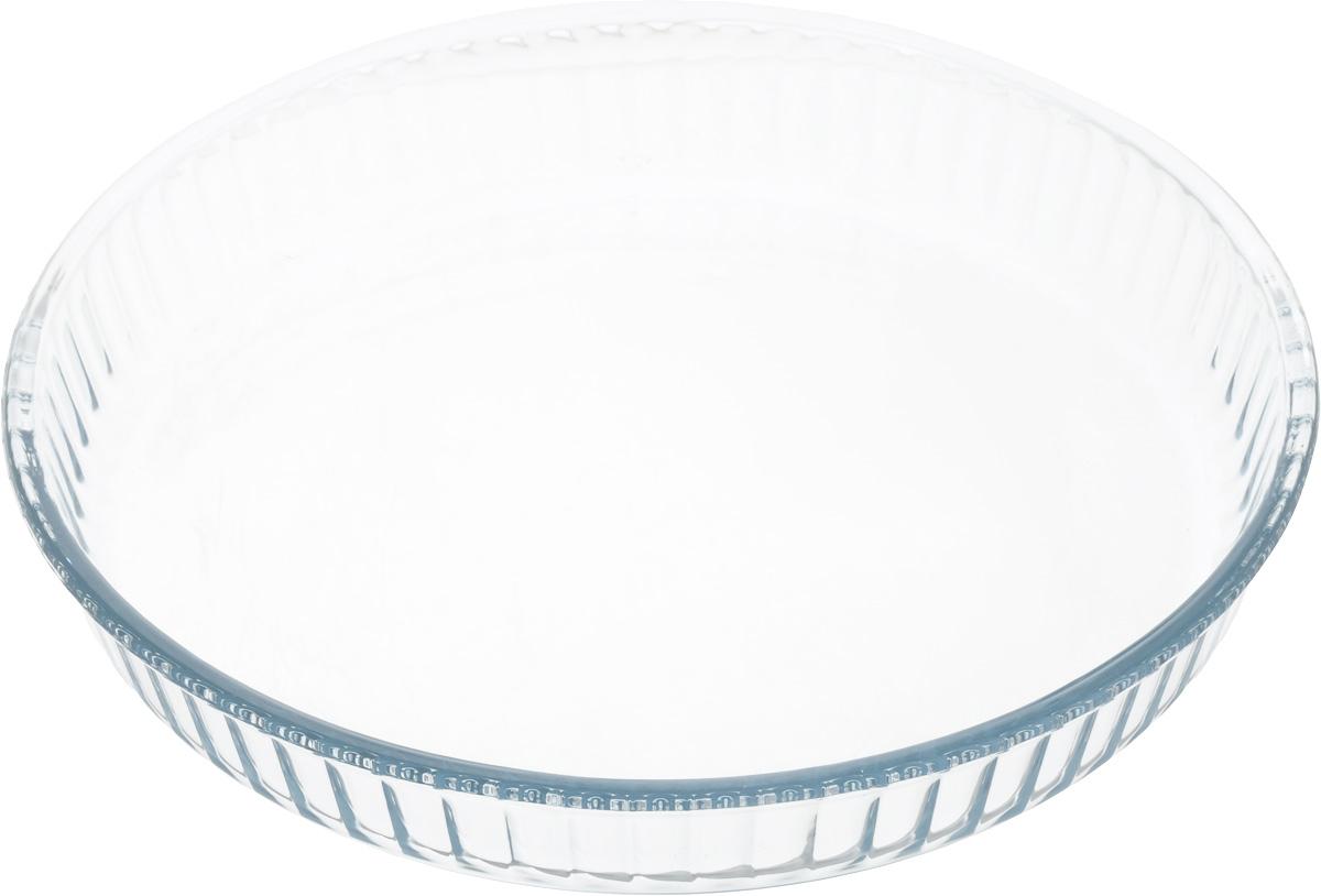 Форма для запекания Pasabahce, цвет: прозрачный, диаметр 31,5 см59014_прозрачныйКруглая форма Pasabahce выполнена из жаропрочного стекла, что позволяет использовать ее для запекания различных блюд. Форма не вступает в реакцию с готовящейся пищей, не выделяет никаких вредных веществ и не подвергается воздействию кислот и солей. Из-за невысокой теплопроводности пища в стеклянной посуде гораздо медленнее остывает. Поэтому в такой форме вы можете как приготовить пищу, так и изящно подать ее к столу, не меняя посуды. Благодаря прозрачности стекла за едой можно наблюдать при ее готовке. Стеклянная посуда очень удобна для приготовления и подачи самых разнообразных блюд.Форма дополнена рельефом с внутренней стороны. Посуду можно использовать в СВЧ и духовом шкафу при температуре до +300°С, ставить в морозилку при температуре -40°С, а также мыть в посудомоечной машине. Диаметр формы: 31,5 см. Высота стенки: 5 см.