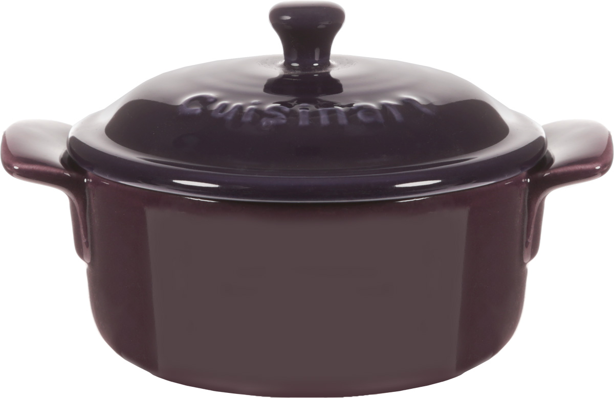 Форма для запекания Calve, круглая, с крышкой, цвет: фиолетовый, диаметр 10 см. P066P066Форма для запекания Calve, выполненная из жаропрочной глазурованной керамики, оснащена крышкой и ручками. Изделие можно использовать в духовке. Во время процесса приготовления посуда из керамики впитывает лишнюю влагу из продукта и хранит тепло. Диаметр формы (по верхнему краю): 10 см.Ширина формы (с учетом ручек): 13,5 см. Высота формы (без учета крышки): 5 см.