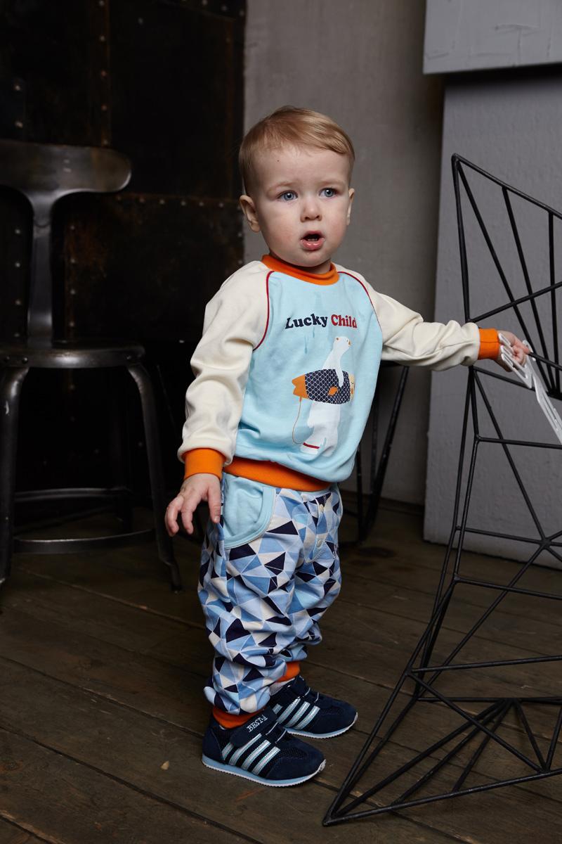 Кофта для мальчиков Lucky Child Умка, цвет: голубой, молочный. 32-12ф. Размер 80/86 пижама для девочки lucky child цвет кремовый желтый оранжевый 12 402 размер 80 86