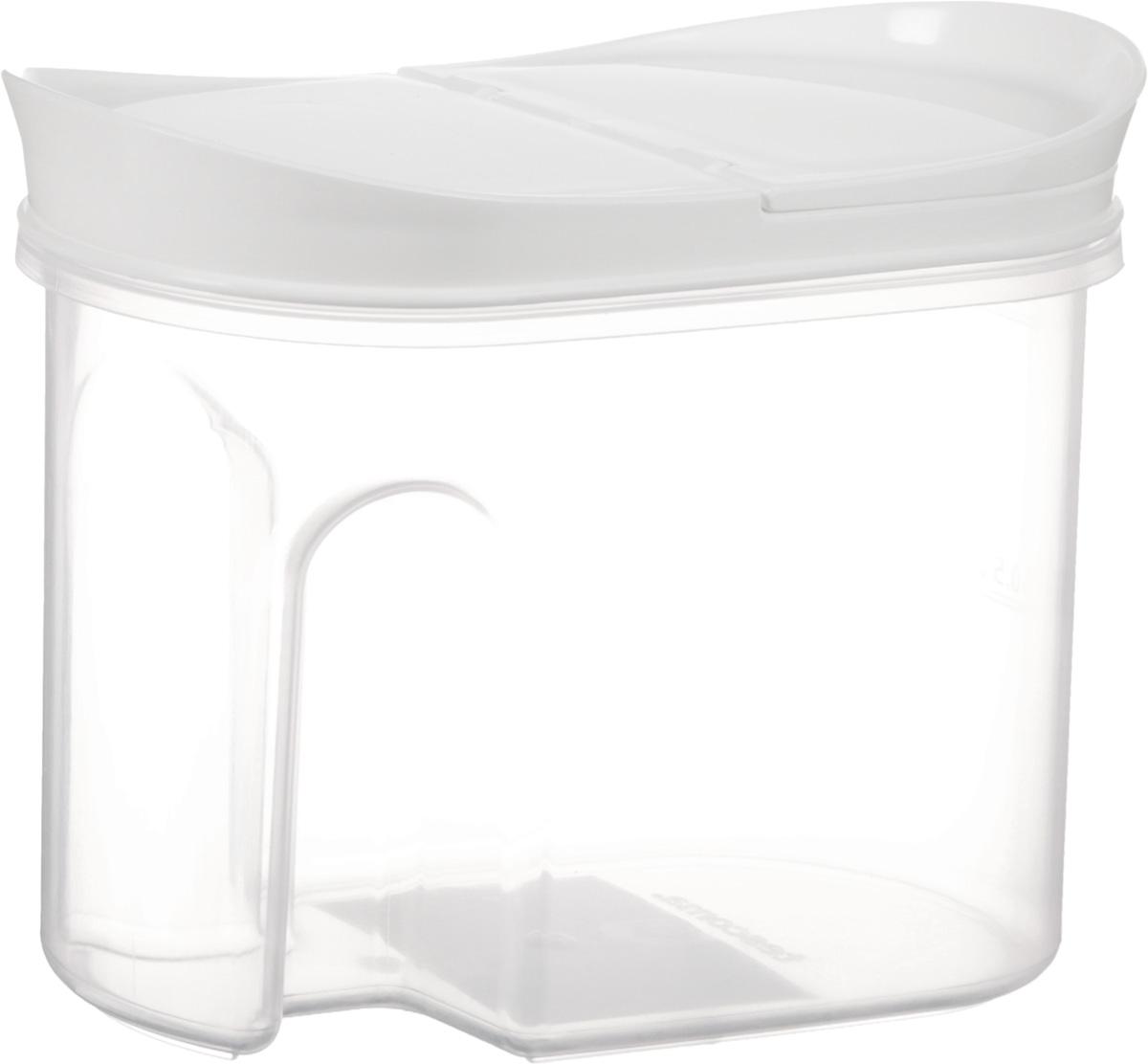Контейнер для сыпучих продуктов Tescoma 4food, 1 л896950Контейнер с откидной крышкой Tescoma 4food изготовлен из высококачественного пластика и дополнен мерной шкалой. Изделие подходит для длительного хранения и дозирования продуктов питания. Лаконичный внешний вид изделия позволяет идеально вписать его в любой интерьер.Подходит для использования в холодильнике.Можно мыть в посудомоечной машине.Размер изделия (с учетом крышки): 18,5 х 10 х 14 см.