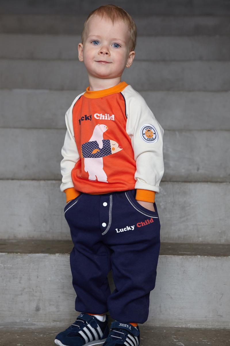 Кофта для мальчика Lucky Child Умка, цвет: коралловый, молочный. 32-12. Размер 80/86 пижама для девочки lucky child цвет кремовый желтый оранжевый 12 402 размер 80 86