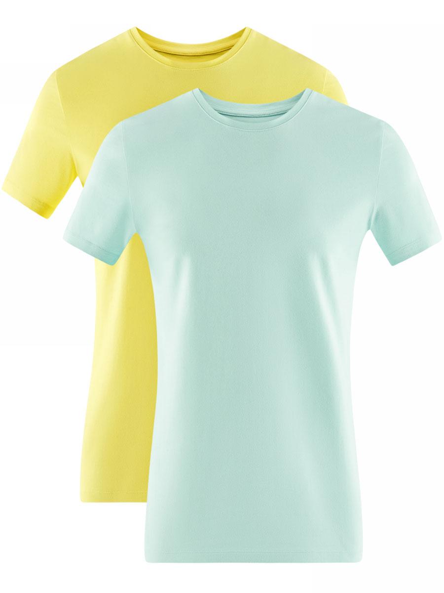 Футболка мужская oodji Basic, цвет: желтый, мятный, 2 шт. 5B611004T2/46737N/1904N. Размер XL (56)5B611004T2/46737N/1904NМужская базовая футболка от oodji выполнена из эластичного хлопкового трикотажа. Модель с короткими рукавами и круглым вырезом горловины. В комплекте 2 футболки.