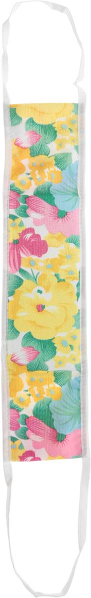 """Мочалка массажная """"Eva"""", с ручками, цвет: зеленый, желтый, белый, 50 х 11 см. М344"""