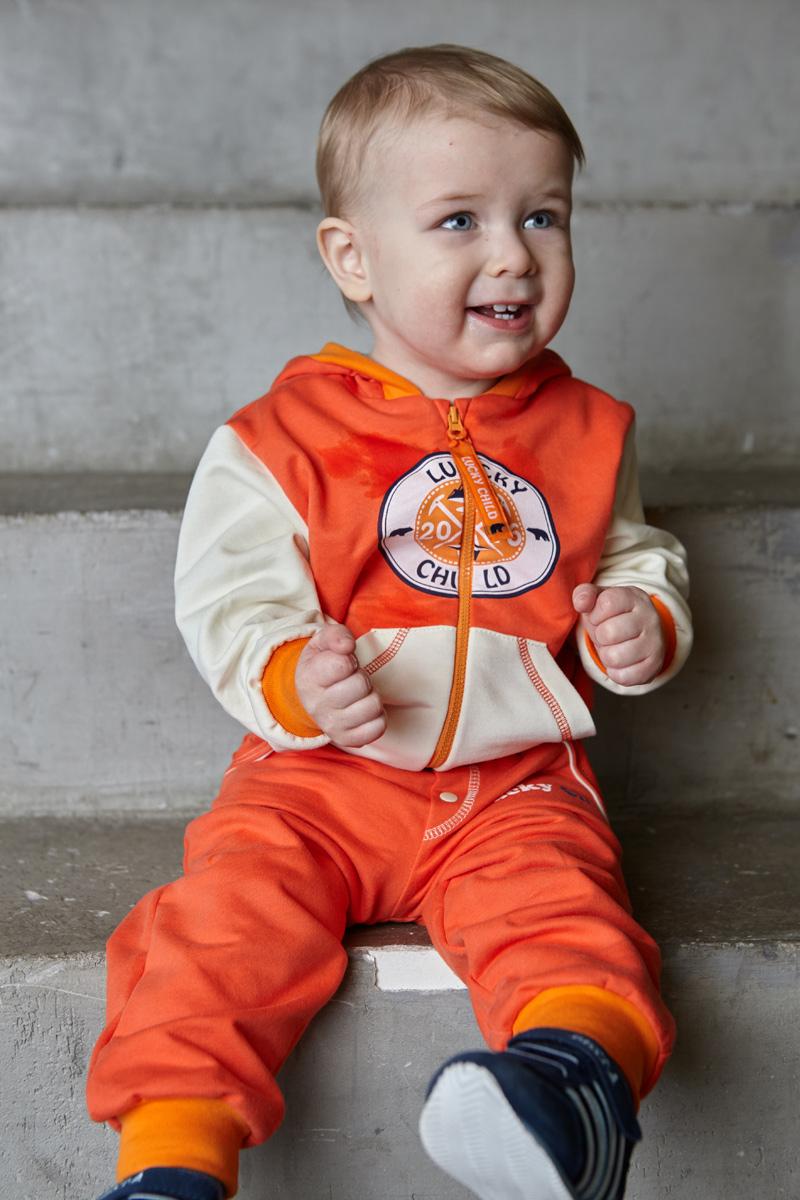 Кофта для мальчика Lucky Child, цвет: коралловый, молочный. 32-17ф. Размер 80/86 пижама для девочки lucky child цвет кремовый желтый оранжевый 12 402 размер 80 86