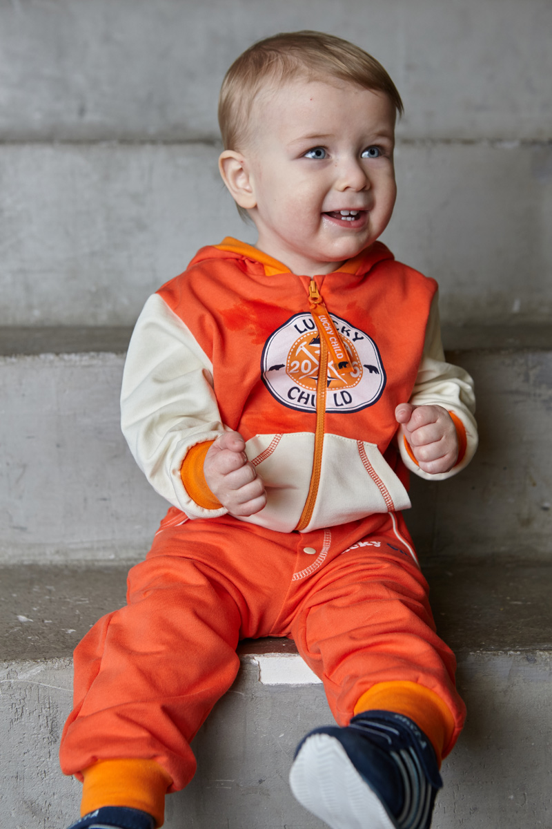 Кофта для мальчика Lucky Child, цвет: коралловый, молочный. 32-17ф. Размер 80/86 пижамы lucky child пижама