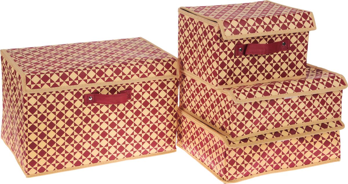Набор органайзеров Homsu Scandinavia, цвет: бежевый, бордовый, 4 штDEN-78Набор Homsu Scandinavia состоит из двух вместительных кофров и двух прямоугольных органайзеров с 18 и 6 раздельными ячейками. Изделия, выполненные из полиэстера, спанбонда и картона, оснащены крышками. Подходят для хранения мелких вещей в ящике или на полке. Идеально подойдут для носков, платков, галстуков и других вещей ежедневного пользования. Имеют жесткие борта, что является гарантией сохранности вещей. Размер органайзера (в собранном виде): 31 x 24 x11 см.Размер кофра: 19 х 25 х 16 см; 38 х 25 х 25 см.Размер ячеек: 7 х 5 см; 23 х 5 см.
