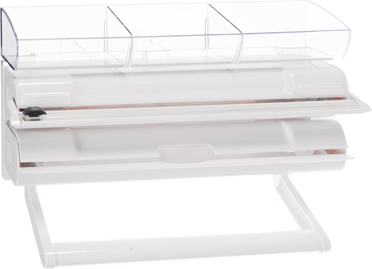 Органайзер кухонный Tescoma onWALL, 4 в 1. 899722899722Кухонный органайзер 4 в 1 Tescoma onWall выполнен из высококачественного пластика. Применяется для хранения и использования пищевой пленки, алюминиевой фольги и бумажных полотенец. Размещается на стене. Имеет прозрачную полку для хранения мелких кухонных принадлежностей. Диспенсеры для пищевой пленки и алюминиевой фольги можно извлечь из органайзера и использовать отдельно. Конец пленки не прилипает к диспенсеру. В комплекте прилагаются инструкции и крепежи.Общий размер органайзера: 39,3 х 25 х 9,3 см.