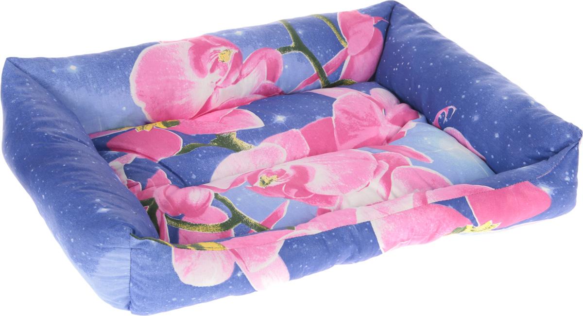 Лежак для животных Elite Valley Пуфик, цвет: фиолетовый, голубой, розовый, 56 х 43 х 16 смЛ4/4 Лежак Пуфик _ орхидея на фиолетовом, материал бязь, холофайберМягкий и уютный лежак Elite Valley Пуфик обязательно понравится вашему питомцу. Он выполнен из высококачественной бязи, а наполнитель - холлофайбер. Такой материал не теряет своей формы долгое время. Борта и встроенный матрас обеспечат вашему любимцу уют.Мягкий лежак станет излюбленным местом вашего питомца, подарит ему спокойный и комфортный сон, а также убережет вашу мебель от многочисленной шерсти.