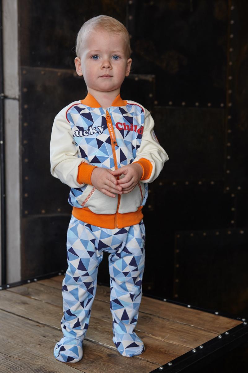 Ползунки для мальчика Lucky Child, цвет: голубой, синий. 32-4ф. Размер 74/8032-4фПолзунки для мальчика Lucky Child - послужат идеальным дополнением к гардеробу малыша. Они выполнены из натурального хлопка, благодаря чему они необычайно мягкие и приятные на ощупь, не раздражают нежную кожу ребенка и хорошо вентилируются, а эластичные швы приятны телу малыша и не препятствуют его движениям. Ползунки с закрытыми ножками выполнены швами наружу и подходят для ношения с подгузником и без него. На талии они имеют широкую трикотажную резинку, не сжимающую животик ребенка. Спереди модель дополнена вставкой контрастного цвета, оформленной вышивкой.В этих ползунках вашему малышу всегда будет комфортно и уютно.