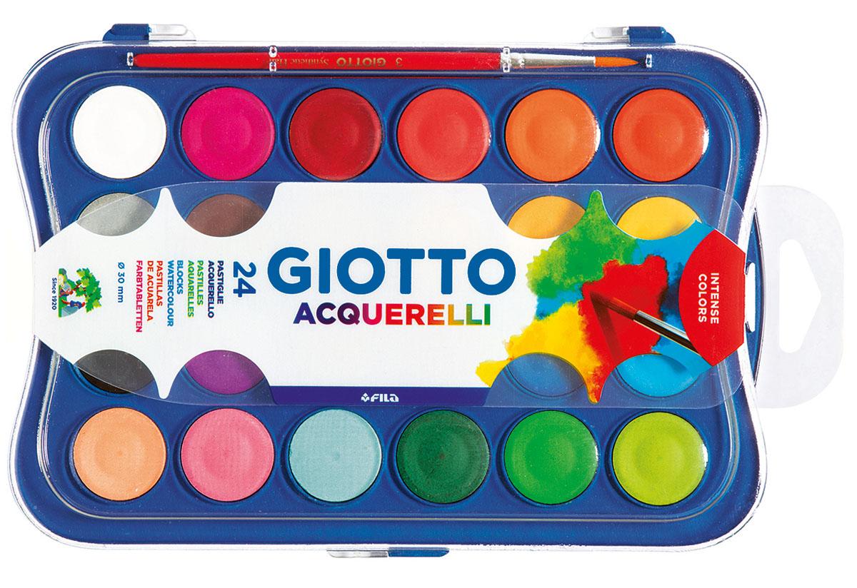 Giotto Акварель Colour Blocks 24 цвета352400Сухая акварель Giotto в таблетках включает 24 цвета Спрессованный концентрированный цветовой пигмент. Интенсивные цвета идеально смешиваются между собой и размываются до полной прозрачности водой. Быстро высыхает на поверхности листа. Легко отмывается от рук. В наборе с кистью.Диаметр таблетки: 3 см.