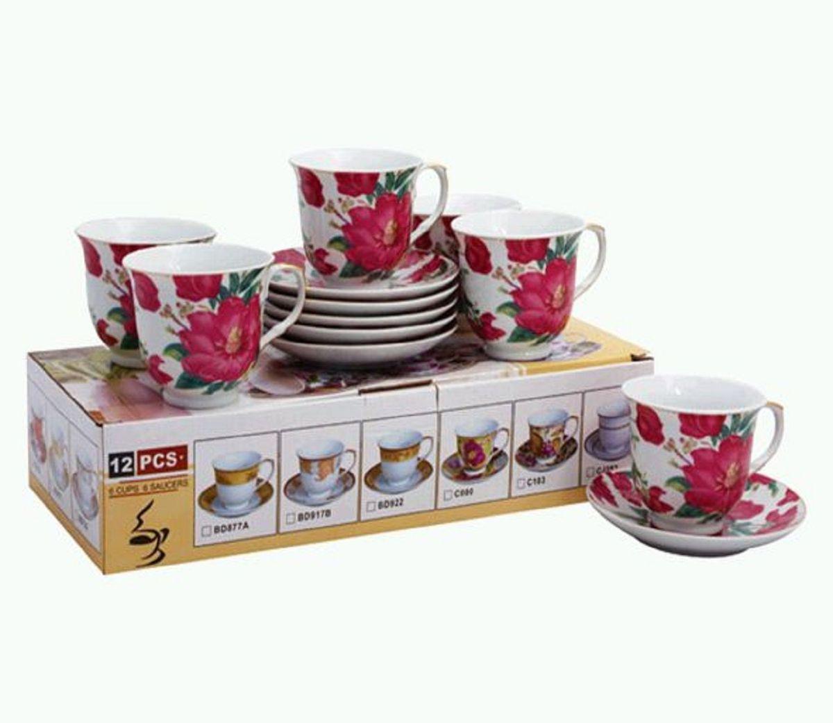 Набор чайный Elff Decor Цветы шиповника, 12 предметов набор для специй elff decor бисквит цвет желтый голубой 2 предмета