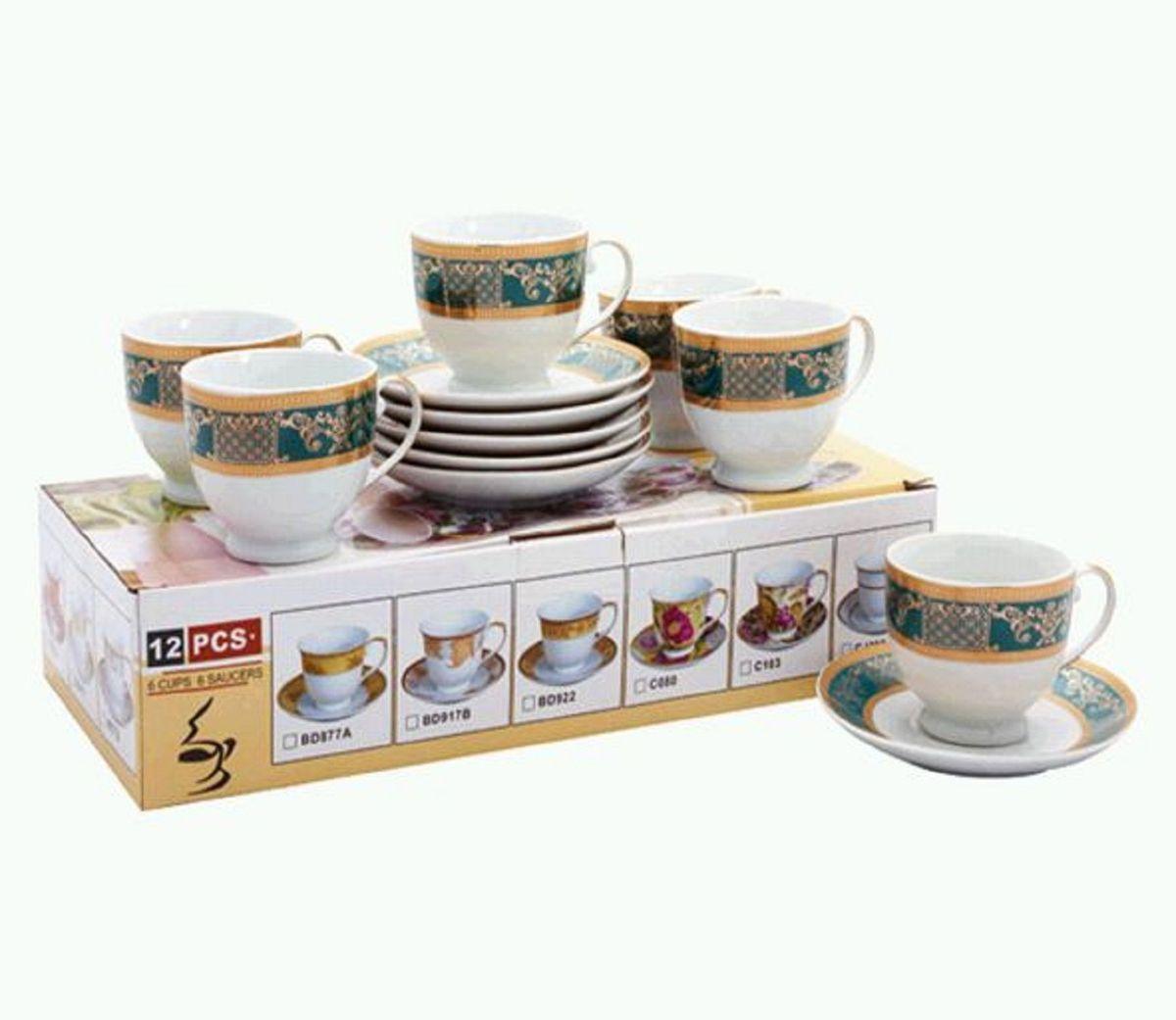 Набор чайный Elff Decor Зеленая полоса, 12 предметов