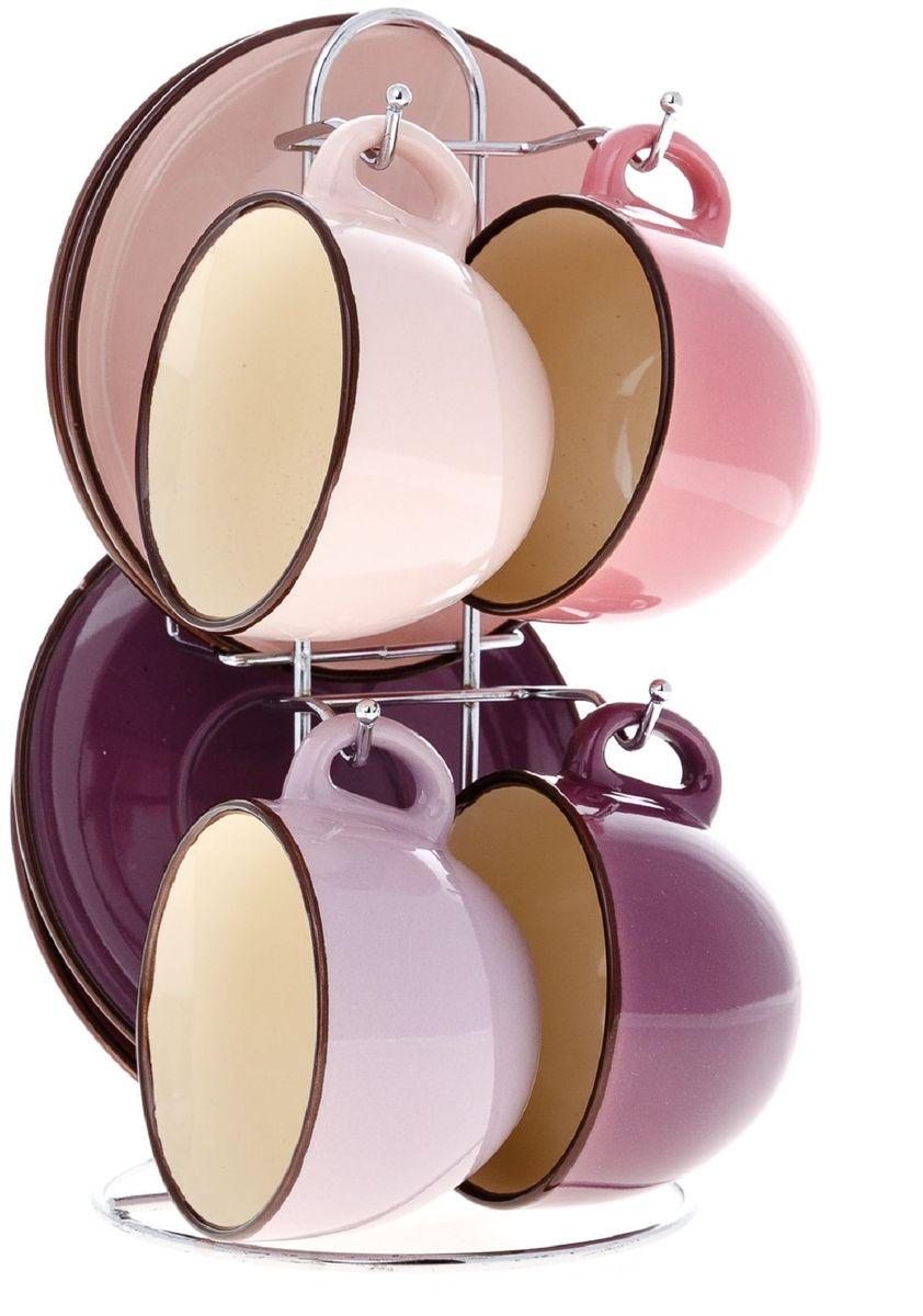 Набор чайный Elff Decor, на подставке, 9 предметов1400-139Чайный набор из 9 предметов Изготовлен из цветной керамики Состоит из:-чашки 4 шт-объем 180 мл-блюдца 4 шт-подставка из нержавеющей стали