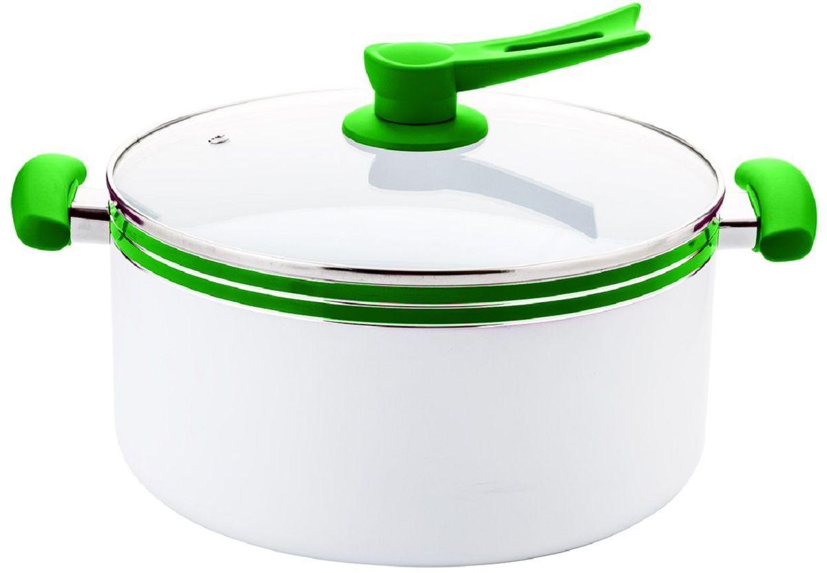 Кастрюля Elff Decor с крышкой, с керамическим покрытием, цвет: зеленый, белый, 5 л1400-205Кастрюля Elff Decor изготовлена из алюминия с керамическим покрытием внутри. Ненагревающиеся силиконовые цветные ручки. Стеклянная крышка. Прочный и стойкий литой алюминий. Подходит для использования на всех типах кухонных плит, включая индукцию. Пригодна для мытья в посудомоечной машине.Объем: 5 л.