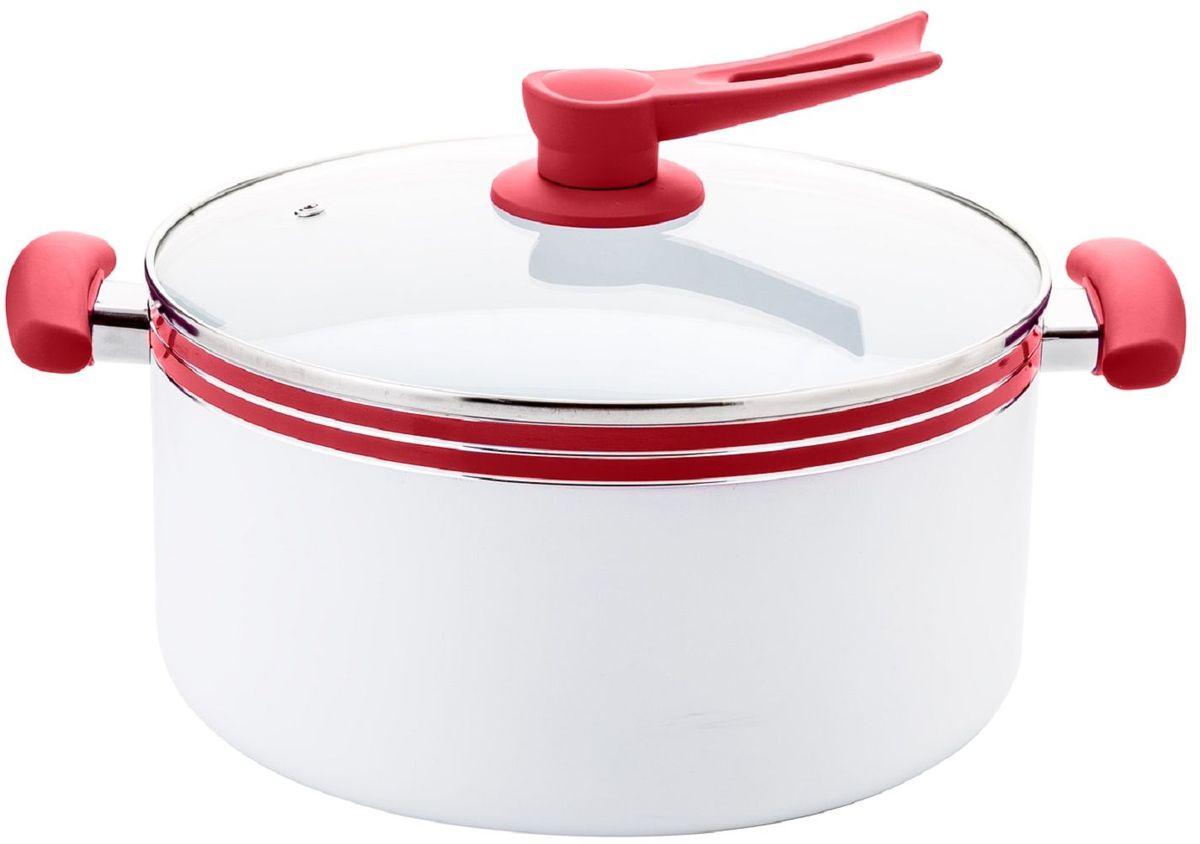 Кастрюля Elff Decor с крышкой, с керамическим покрытием, цвет: красный, белый, 6,8 л ароматическое украшение аромат маркиза elff decor цвет белый