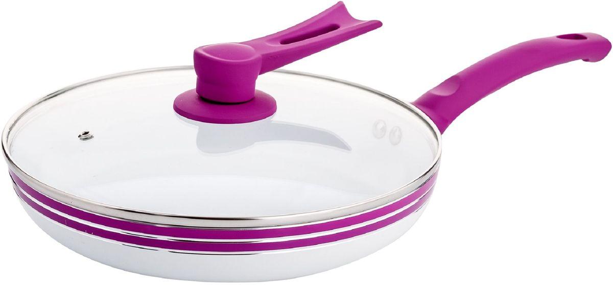 Кастрюля Elff Decor с крышкой, с керамическим покрытием, цвет: фиолетовый, 8,1 л1400-210Кастрюля Изготовлена из алюминия с керамическим покрытием внутри Ненагревающиеся силиконовые цветные ручки Стеклянная крышка Прочный и стойкий литой алюминий Подходит для использования на всех типах кухонных плит, включая индукцию Пригодна для мытья в посудомоечной машине. d.28 см Емкость-8,1 л