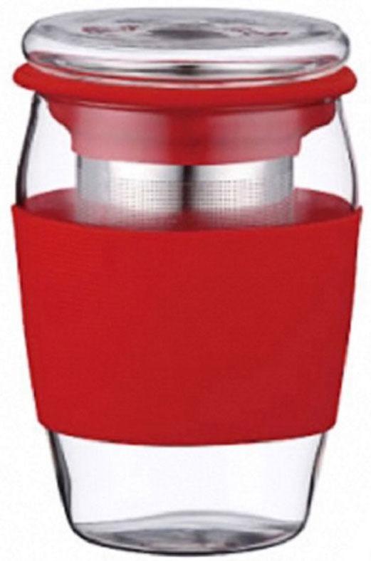 Стакан заварочный Elff Decor, с крышкой и фильтром, цвет: красный, 500 мл концентрированный аромат для гипсовых фигурок опаловая пудра 5 мл elff decor цвет прозрачный