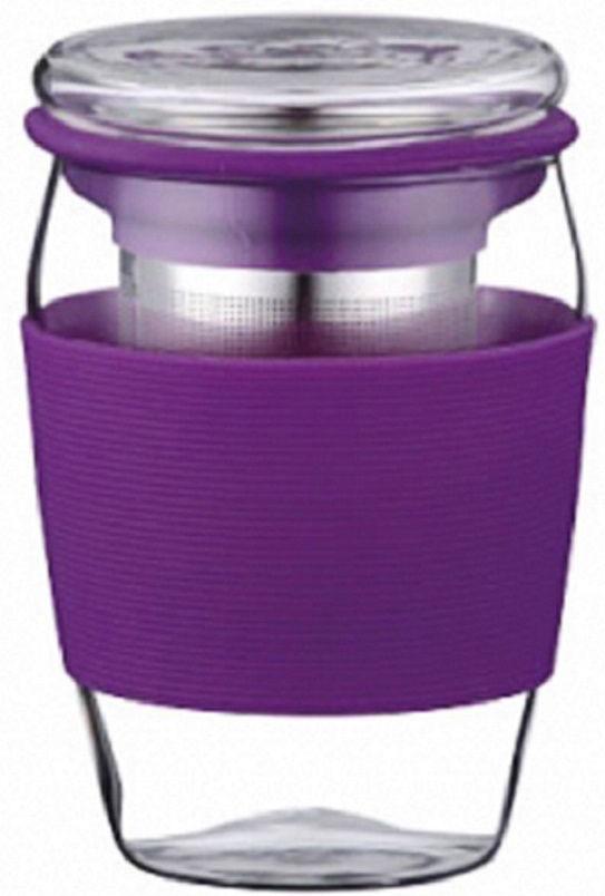 Стакан заварочный Elff Decor, с крышкой и фильтром, цвет: фиолетовый, 500 мл1400-821-2Стакан и крышка изготовлены из боросиликатного (термостойкого) стекла. Фильтр изготовлен из нержавеющей стали. Край фильтра обрамлен цветным силиконом. Стакан имеет силиконовый держатель, для предохранения рук от высокой температуры напитка.Объем - 500 мл.