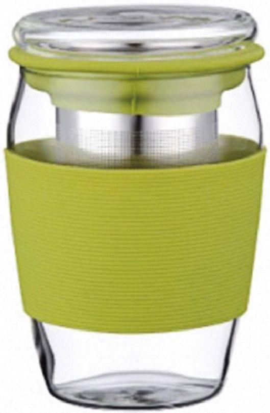 Стакан заварочный Elff Decor, с крышкой и фильтром, цвет: зеленый, 500 мл1400-821-3Заварочный стакан с крышкой Стакан и крышка изготовлены из боросиликатного (термостойкого) стекла Фильтр изготовлен из нержавеющей стали Край фильтра обрамлен цветным силиконом Стакан имеет силиконовый держатель, для предохранения рук от высокой температуры напитка Объем-500 мл