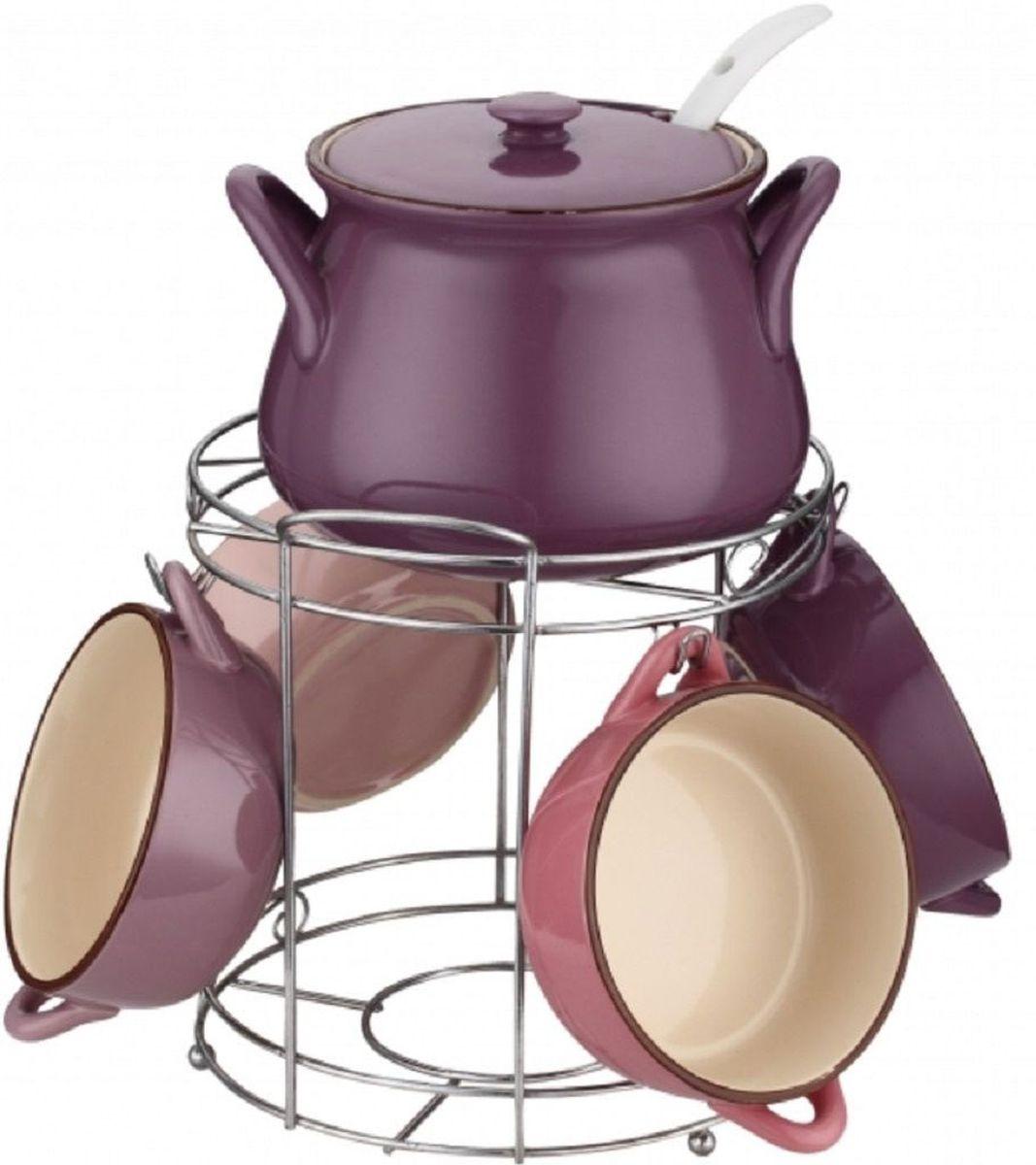Набор супниц Elff Decor, на подставке, 8 предметов1400-872Супницы Elff Decor изготовлены из цветной керамики. В комплект входит:- супница с крышкой - объем 1,5 л,- супницы - объем 400 мл 4 шт,- суповая ложка,- подставка из нержавеющей стали.