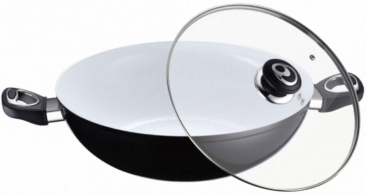 Казан Elff Decor, с крышкой, с керамическим покрытием. Диаметр 32 см1400-891Казан Изготовлен из алюминия с белым керамическим покрытием на внутренней поверхности Стеклянная крышка с возможностью выпуска пара Клепанные ручки из пластика и нержавеющей стали Легко чистится Подходит для всех видов плит, включая индукцию d.32 см