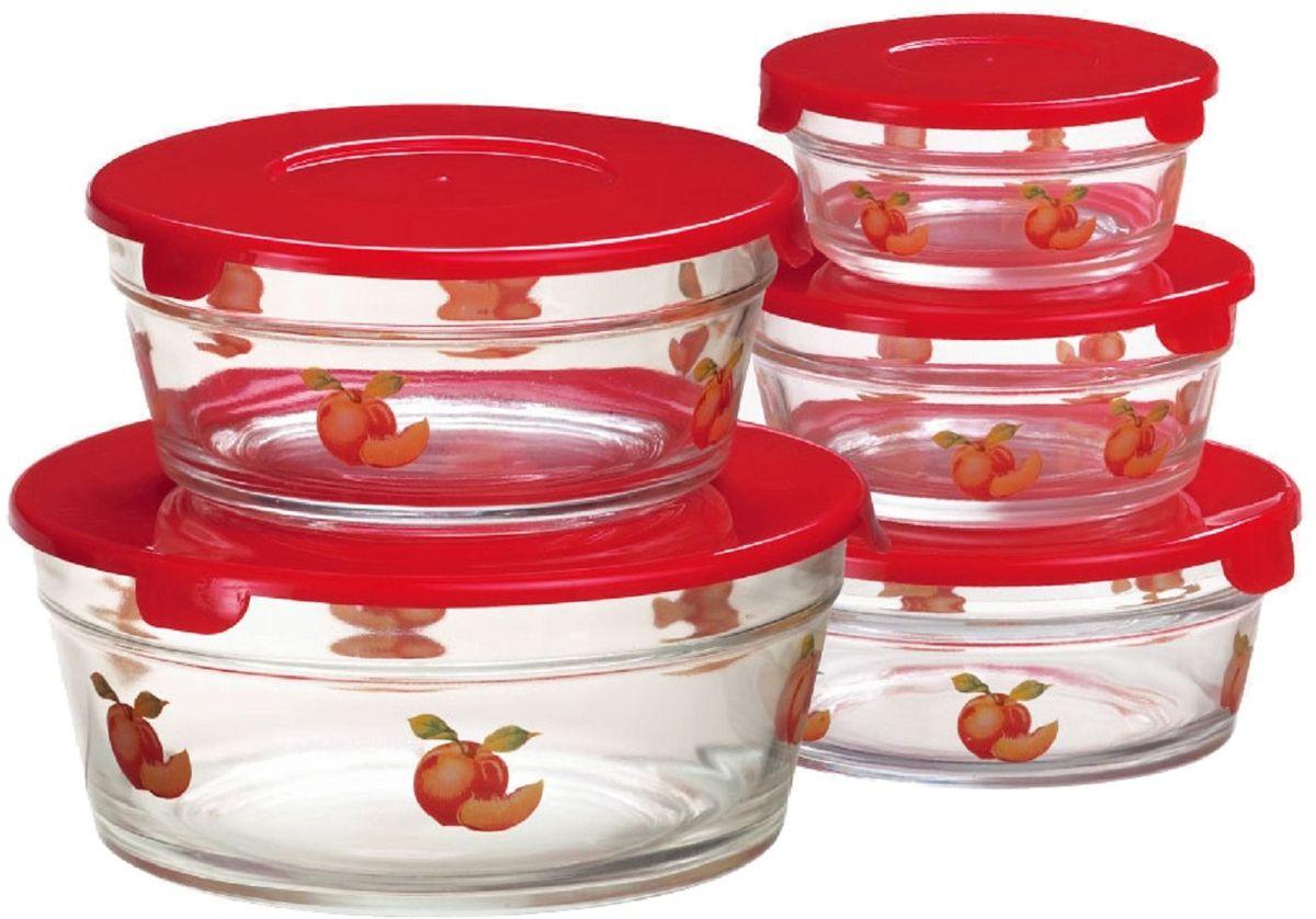 Набор контейнеров Elff Decor, 5 шт. 1407-0721407-072Набор стеклянных контейнеров из 5 предметов Изготовлен из термостойкого стекла (выдерживаютохлаждения в морозильной камере) Плотно прилегающие крышки из термостойкого пластика Пригодны для хранения в холодильнике, для мытья в посудомоечной машине d.: 9,10,13,14,17 см.